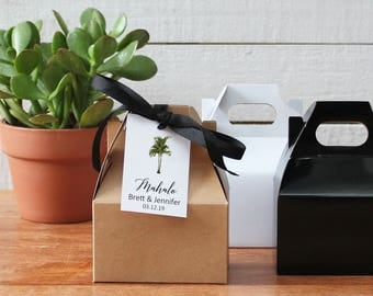 Vintage Palm Tree Wedding Favor Gable Boxes | Palm Tree Favor Hang Tag | Tropical bridal shower favor box | Palm Tree Tags - ANY OCCASION