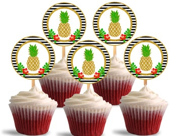 Pineapple Cupcake Toppers, Birthday, Printable Cupcake Toppers, Luau Theme Party Decorations - Instant Download - DP481