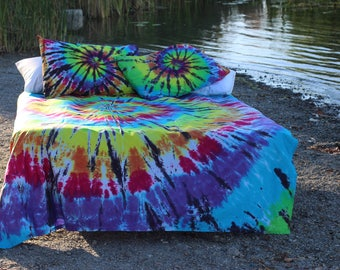 Tie Dye queen sheet set - 4 piece hand dyed - Super soft rainbow spiral -  colorfast professional dyes - student bedding - rainbow fabric