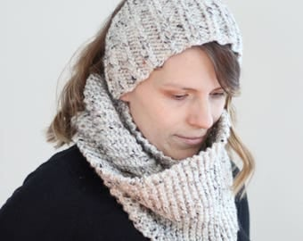 Chunky Knit Matching Set - Ear Warmer Headband and Double Wrap Cowl in Cream Tweed Women's Autumn Winter Holiday Layers Knit Infinity Scarf