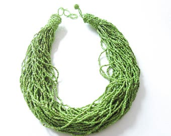 Green Torsade Necklace with Seed Beads Green Beaded Jewelry Gift for Her