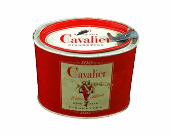 Vintage 1950 s Red White Cavalier Cigarette Tin Tobacciana Great Graphics Removable Lid 4 Inches Tall Oblong