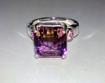 Natural Bi-Color Ametrine, Rubies In Sterling Silver Cocktail Ring. 7.45ct. Size 6.