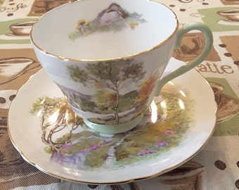 "Shelley Tea Cup and Saucer; Titled ""English Lakes"" circa 1925-1940-  DR"