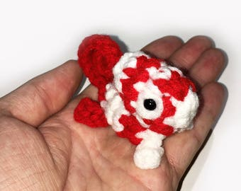 Peppermint Candy Cane Mini Chameleon Plushie - 2.5 inch Small Crochet Animal Stuffed Toy Lizard - Ready to Ship