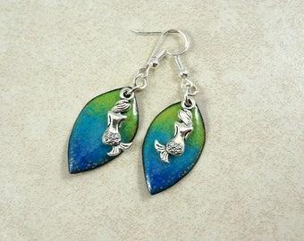 Mermaid Earrings, Blue and Green Enameled Charm with Silver Mermaid Charms, Blue and Silver, Blue Green Earrings, Artisan Beach Theme Dangle
