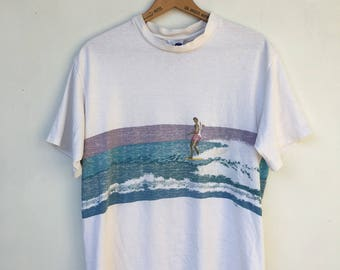Vintage 90s Faded Surfer T Shirt L
