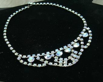 Unsigned Blue Rhinestone Necklace Choker