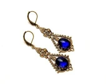 COBALT VICTORIAN Steampunk Earrings Vintage jewel Earrings BLUE Antique Brass Victorian Wedding Steampunk Jewelry by Victorian Curiosities