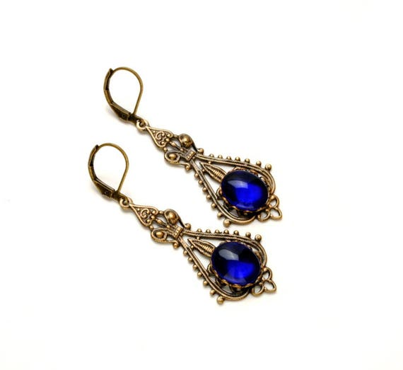 COBALT VICTORIAN Steampunk Earrings Vintage jewel Earrings BLUE Antique Brass Victorian Wedding Steampunk Jewelry by Victorian Curiosities