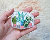 Iron On Patch -  Metallic Tropical Glasshouse Iron-On Embroidered Patch - Iron-On - Sew On Patches