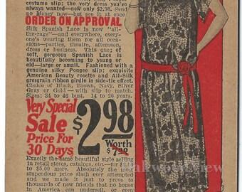Bernard-Hewitt Silk Spanish Lace Dress Advertising Postcard c1920s, Antique Chicago Illinois Ephemera, FREE SHIPPING