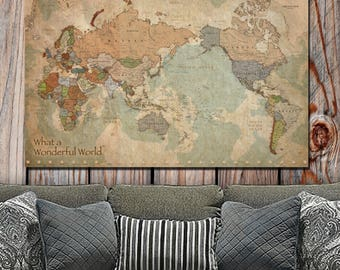 World map canvas etsy map of the world on canvas single panel non push pin vintage map gumiabroncs Image collections