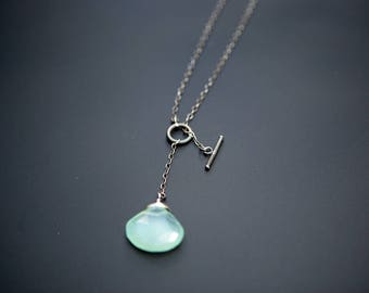 Blue Chalcedony Toggle Necklace