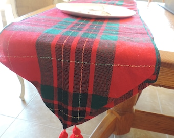 Christmas Table Runner Red Plaid Table Linens Runner Christmas Lines Table Linens