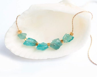 Raw Apatite Necklace, Natural Gemstone Necklace, Healing Crystal Necklace, Boho Layering Choker, Birthday Gift for Her, Aqua Stone, BFF Gift