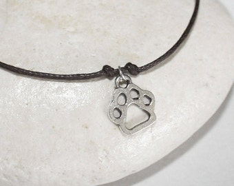 Paw Bracelet or Anklet in Silver, Dog Paw Bracelet, Paw Print Bracelet, Animal Bracelet, Animal  Lover, Dog Lover Gift,  Canine Jewelry
