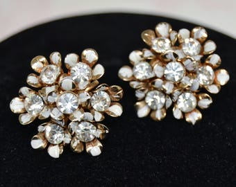 Vintage Screw-Back Earrings with White and Gold Enamel Flowers and Clear Rhinestones