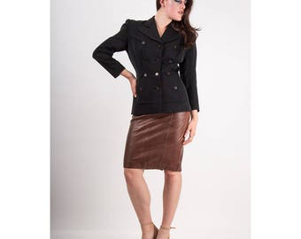Vintage leather pencil skirt / 1980s chocolate brown buttery soft high waist skirt M