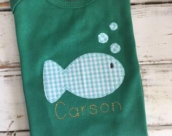 Fish Bubbles Blanket Stitch Applique Embroidery Design 5x7 6x10 8x8 8x12