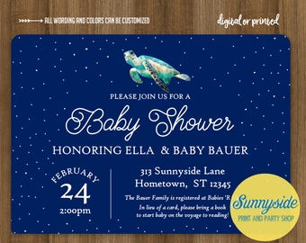 Sea turtle or whale baby shower invitation, baby boy gender neutral printable shower invite // nautical ocean theme sea creature watercolor