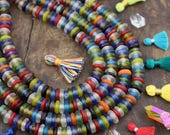 Life Savers : Multi Color Mix, Ghana African Glass Rondelle Spacer Beads, 12x4mm, Large Hole Ethnic Jewelry Making Supplies, 125+ pcs