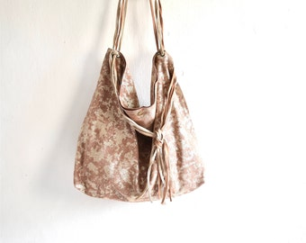 Dusky Pink and Mottled Gold Suede Tote with Woven Strap and Tassel Finish.  One of a kind and Ready to Ship