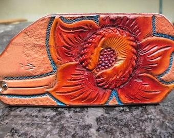 Handmade leather keychains, Orange flowers, Orange keychains, Floral keychains, keychains, key fobs, key rings,