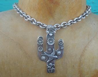 Saguaro Cactus Sterling Swallow Flowers Pendant - sterling silver
