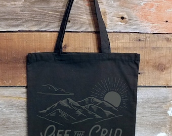 Black Cotton Canvas Tote Bag - Off The Grid