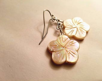 White Tropical Flower Earrings