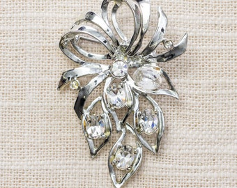 Silver Rhinestone Brooch Shiny Abstract Bow Vintage Broach Pin 7BZ