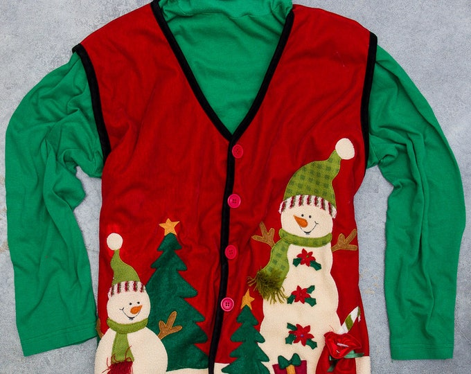 Red & Green Ugly Christmas Outfit Xmas Turtleneck + Velvet Snowman Vest Oversized 7CH