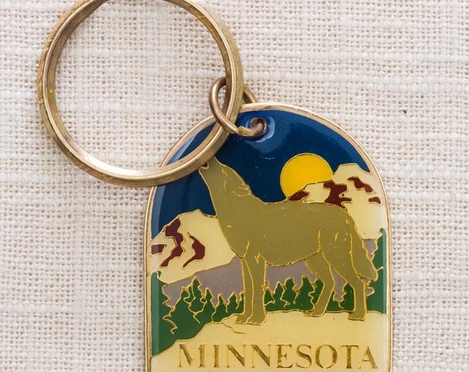 Minnesota Vintage Keychain Howling Wolf Moon Mountains USA Key FOB Brass Key Chain 7KC