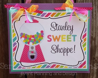 Door Sign, Welcome Sign, Hanging Sign, Photo Prop, Sweet Shoppe, Gumball, Colorful, Birthday Sign, Party Sign, Candy Shop Party, Sweets