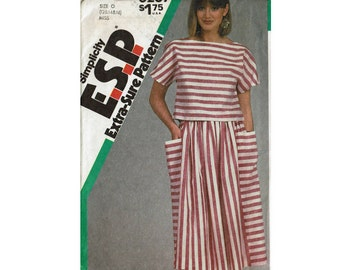 1980s Cropped Boatneck Top & Full Skirt Uncut Sewing Pattern ESP Extra Sure Pattern Simplicity 6287