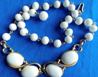 Trifari Choker Necklace White Beads White Cabachons Vintage Jewelry Jewellery Accessory Wedding Cottage Chic Art Deco Gift Guide Women