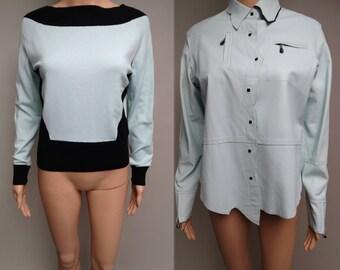 Vintage Leather Jacket | Sweater Matches Jacket | Blue Leather Jacket | Designer Jacket | 90s Jacket |