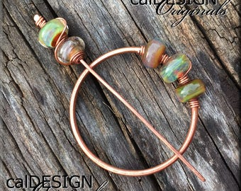 Copper Shawl Pin, Scarf Pin, Hair Pin with Made in the USA Lampwork Beads