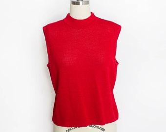 Vintage ST.JOHN Top - 1990s Red Wool Knit Sleeveless Shell Top 90s - Medium