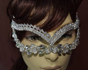 Rhinestone mask,Sparkling Mask, Mardi Gras mask,wedding mask