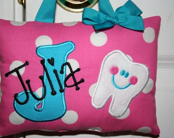 Tooth Fairy Pillow Girls Personalized - Pink - Polka Dot - Tooth Chart - Keepsake - Kids Birthday - Baby Gift - Flower Girl - Christmas