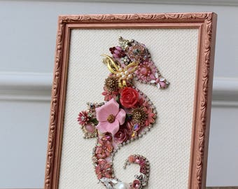 Seahorse Jewelry Art Collage Framed Vintage Antique Rhinestone Pink Pearl Assemblage Floral Rose Gold Bejeweled nursery Flower up-cycled