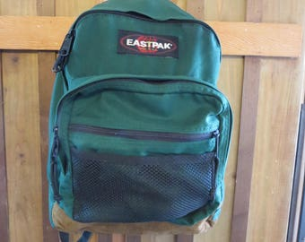 Eastpak GREEN  Leather Bottom Backpack  USA Made