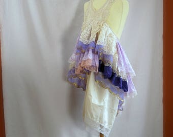 Girls size 8. Pink purple beige bohemian flower girl. Mori Girl dress with loads of lace. Rustic flower girl.