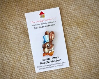 Pick One Bunny Rabbit needle minder by The Cottage Needle at thecottageneedle.com Easter Spring gardening Birthday St. Patrick's Day May 5th