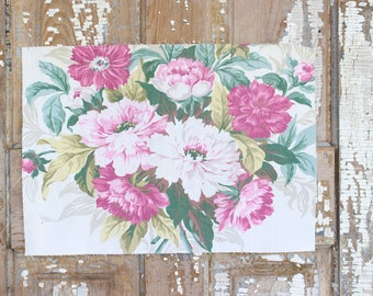 Pink Cabbage Roses Floral Pattern 30s 40s Vintage Fabric Decorative Custom Throw Pillow