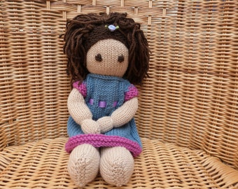 "12"" Hand Knitted Doll Handmade Doll Brown Hair Doll Brown Eye Doll Knitted Doll in Soft Merino Wool Doll with removable dress"
