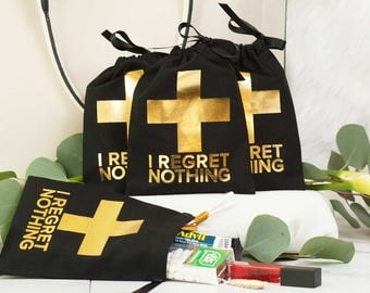 "5x7"" Bachelorette First Aid Bags - No Regrets! - hangover kit bags"