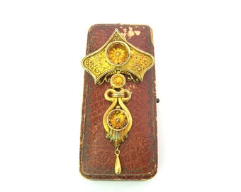 Victorian Brooch. 14K 18K Gold Handmade Etruscan Revival. Antique Articulated w/ Tear Drop Dangle. Mid Victorian Grand Period 1800s Jewelry.